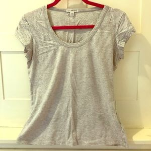 James Perse grey and white striped T-shirt